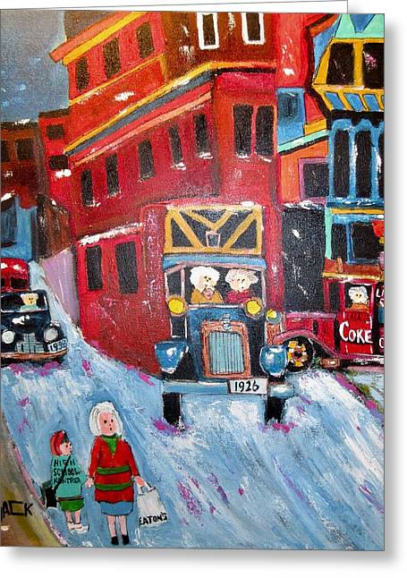 Coal Delivery 1943 St. Antoine/victoria Square Griffintown Greeting Card by Michael Litvack