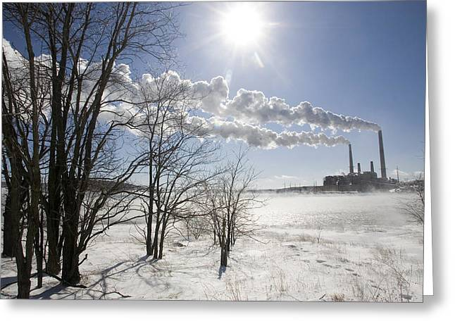Coal Fired Power Plant In Winter Greeting Card by Skip Brown