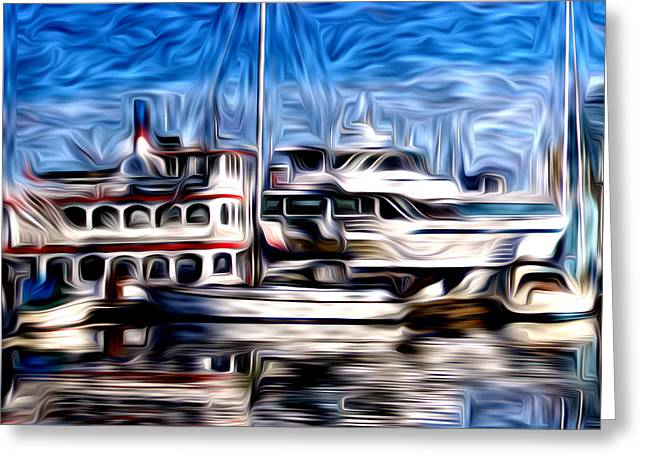 Coal Harbour Boats  Greeting Card by Julius Reque