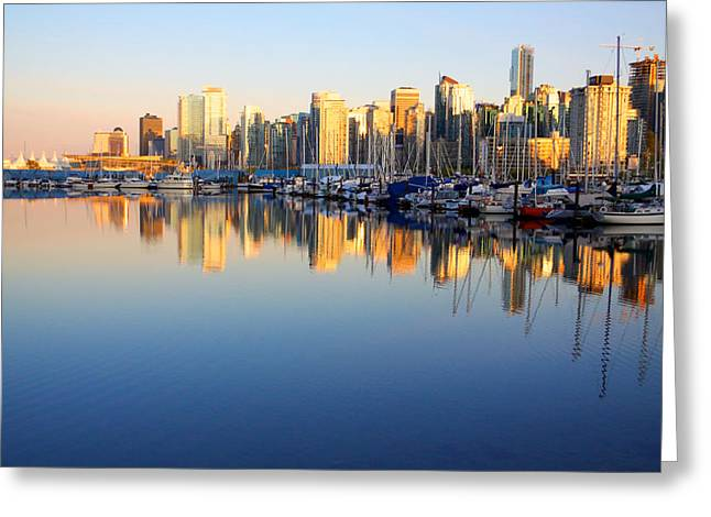 Coal Harbour Sunset 1 Greeting Card by Julius Reque