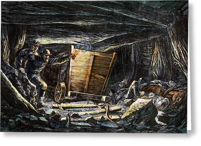 Mine Pit Greeting Cards - Coal Mine Explosion, 1873 Greeting Card by Granger