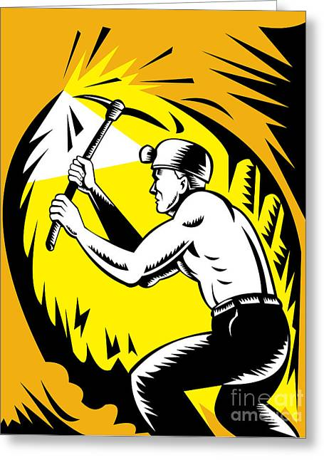 Coal Miner At Work Greeting Card by Aloysius Patrimonio