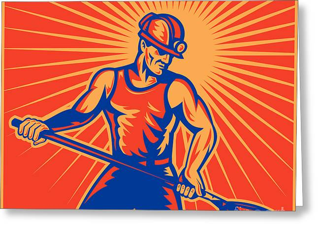 Coal Miner At Work With Shovel Front View Greeting Card by Aloysius Patrimonio