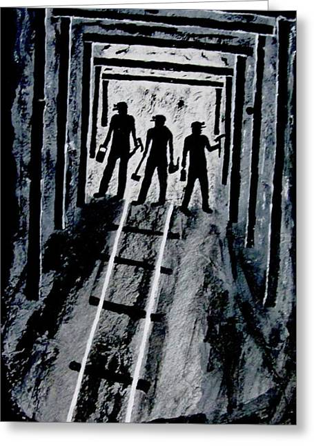 Coal Miners At Work Greeting Card