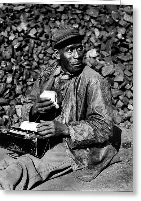 Coal Yard Worker - Oak Ridge Tennessee 1945 Greeting Card by Ed Westcott