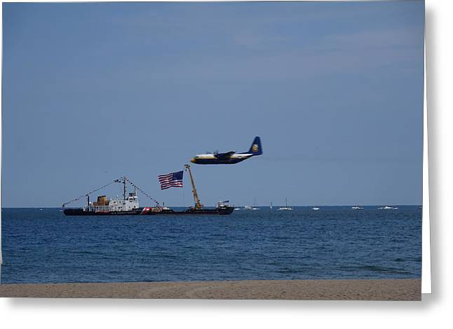 Coast Guard Boat Meets Plane Greeting Card