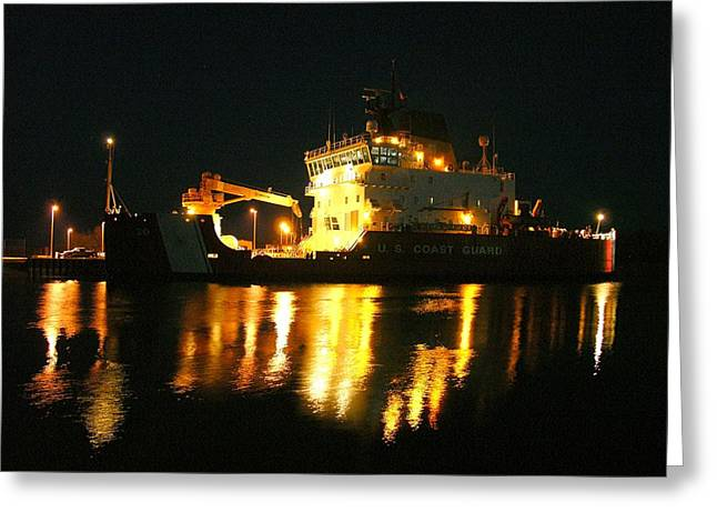 Coast Guard Cutter Mackinaw At Night Greeting Card by Keith Stokes