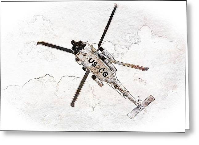 Greeting Card featuring the photograph Coast Guard Helicopter by Aaron Berg