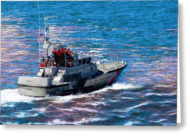 Greeting Card featuring the photograph Coast Guard Out To Sea by Aaron Berg