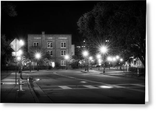 Coast Line Center At Night Greeting Card