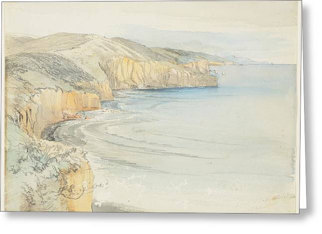 Coast Near Dunedin, 1865, By Nicholas Chevalier. Greeting Card by Celestial Images