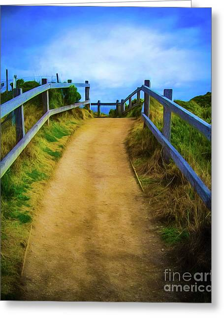 Greeting Card featuring the photograph Coast Path by Perry Webster