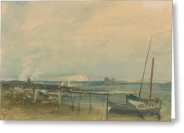 Coast Scene With White Cliffs And Boats On Shore Greeting Card by Joseph Mallord William Turner