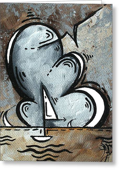 Coastal Art Contemporary Sailboat Painting Whimsical Design Silver Sea II By Madart Greeting Card by Megan Duncanson