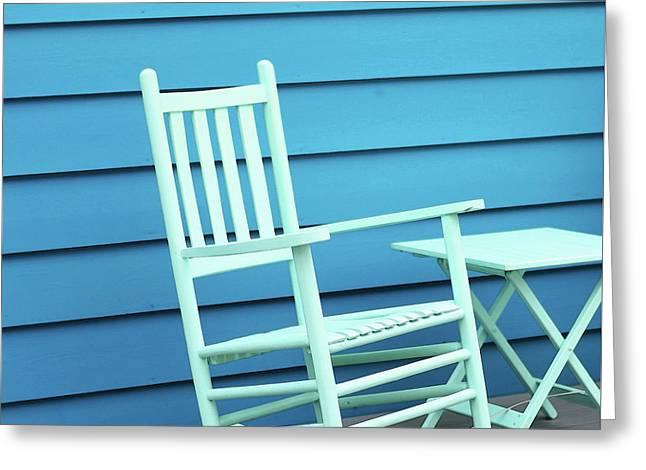 Coastal Beach Art - Blue Rocking Chair - Sharon Cummings Greeting Card