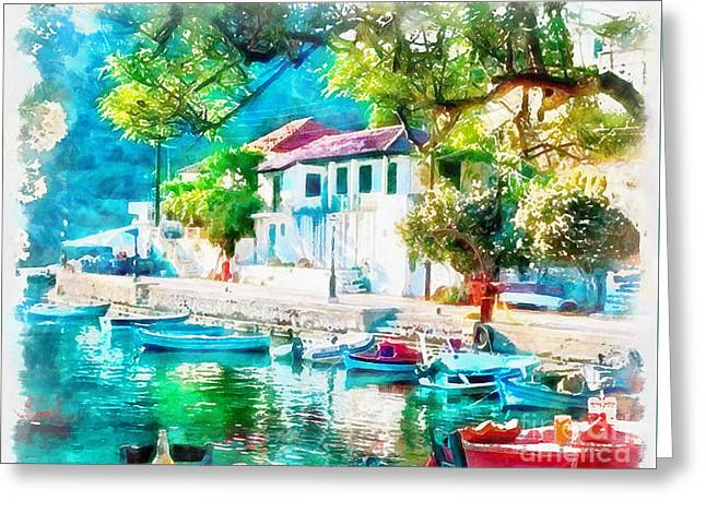 Coastal Cafe Greece Greeting Card