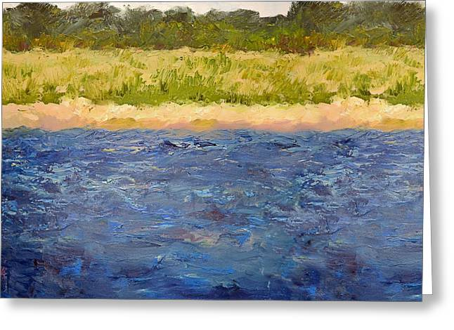 Greeting Card featuring the painting Coastal Dunes - Square by Michelle Calkins