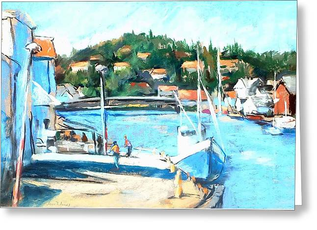 Coastal Fishing Village Greeting Card by Joan  Jones