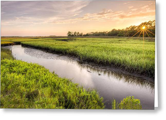 Coastal Florida Landscape - Late Afternoon On The Marsh  Greeting Card by Bill Swindaman