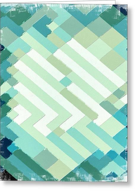 Coastal Decor Digital Art Greeting Cards - Coastal Geometric Greeting Card by Bonnie Bruno