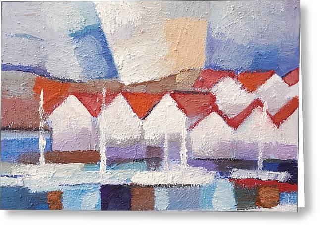 Coastal Houses Greeting Card by Lutz Baar