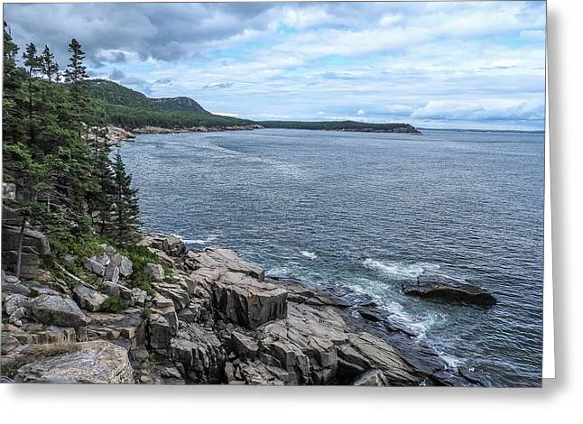 Coastal Landscape From Ocean Path Trail, Acadia National Park Greeting Card