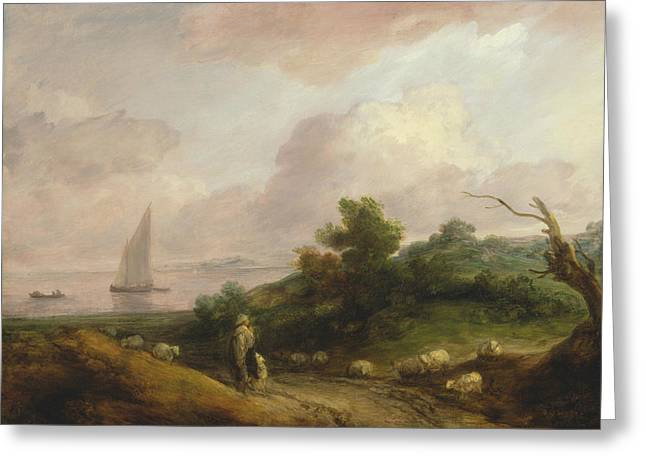 Coastal Landscape With A Shepherd And His Flock Greeting Card by Thomas Gainsborough