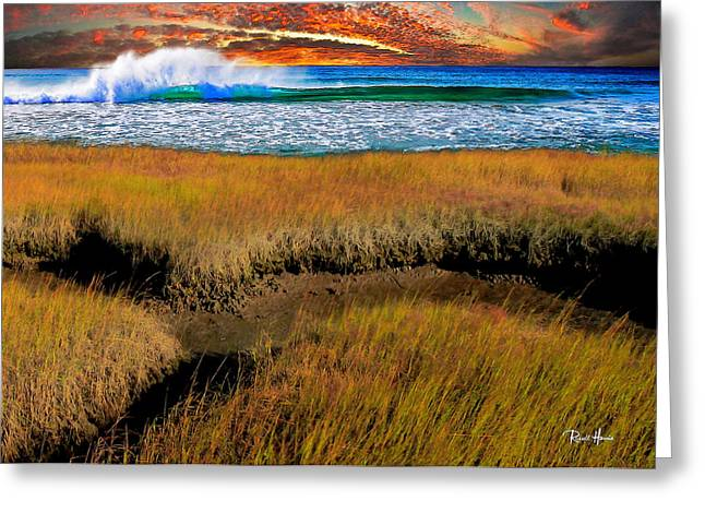 Coastal Marsh At Sunset Greeting Card by Russ Harris