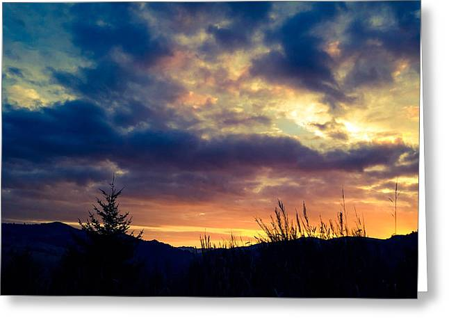 Coastal Mountain Sunrise X Greeting Card