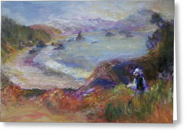 Coastal Painter - Port Orford - Contemporary Impressionist Art Greeting Card by Quin Sweetman