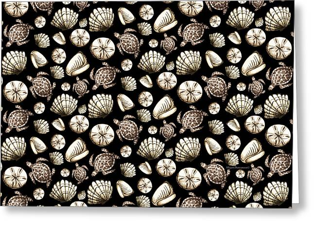 Coastal Pattern Seashells And Turtles Sepia On Black By Megan Duncanson Greeting Card by Megan Duncanson