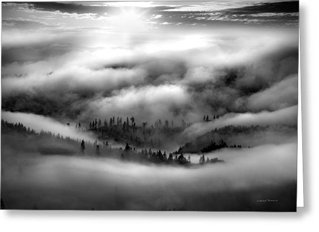 Coastal Range Bw Greeting Card