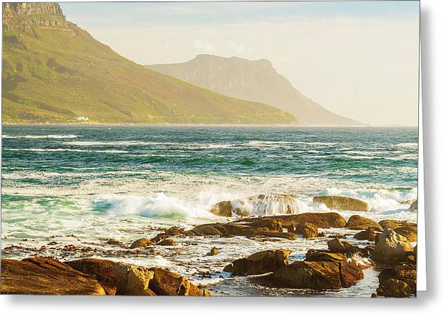 Coastal Rocks And Mountains Greeting Card by Tim Hester