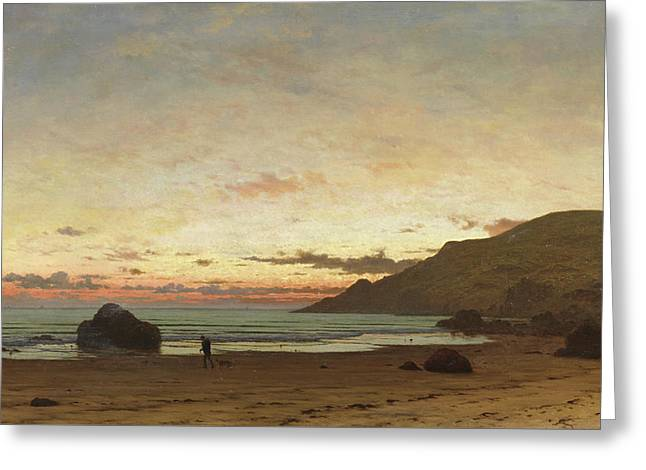 Coastal Scene With A Man And A Dog Greeting Card by Frederick William Meyer