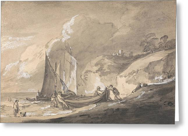 Coastal Scene With Figures And Boats  Greeting Card