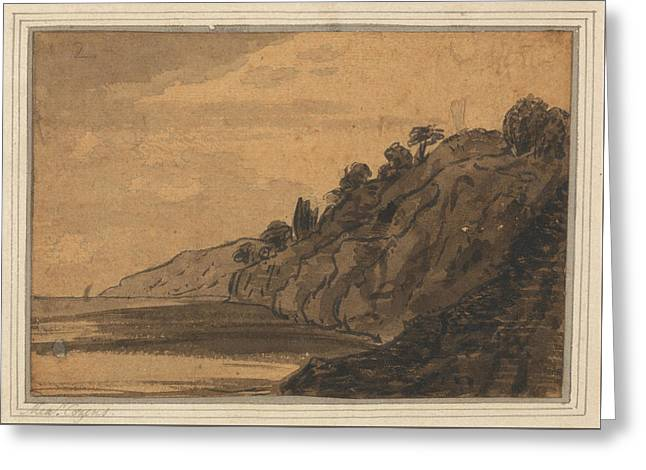 Coastal Scene With Wooded Cliff Greeting Card