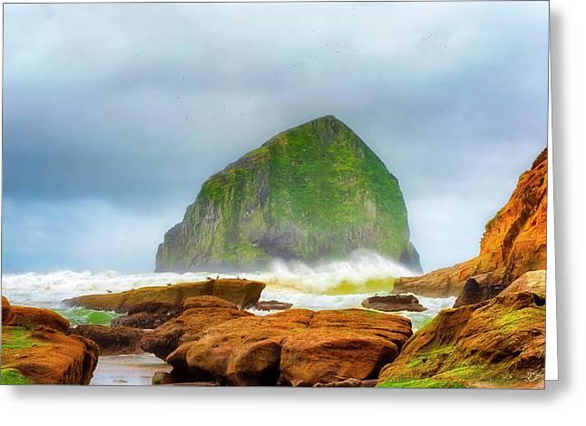 Coastal Storm At Haystack Greeting Card