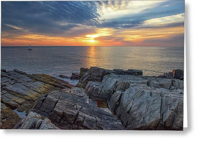 Coastal Sunrise On The Cliffs Greeting Card