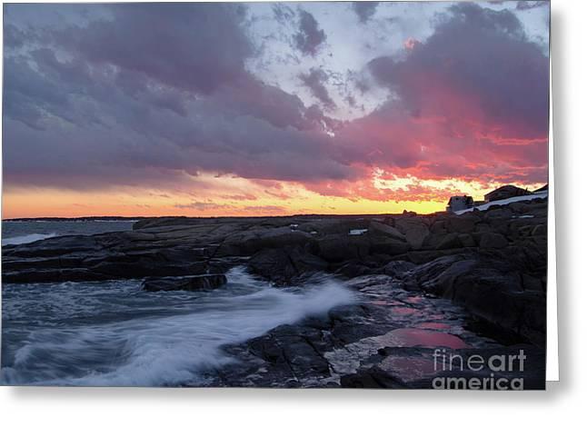 Coastal Sunset Cape Neddick - York Maine  -21056 Greeting Card