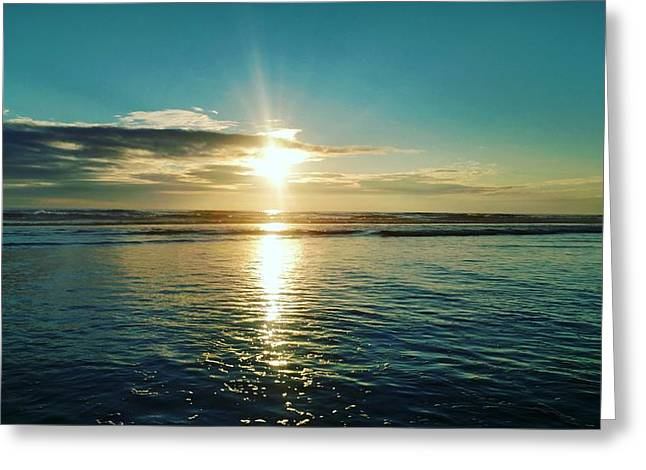 Coastal Sunset Greeting Card by Frederick Messner