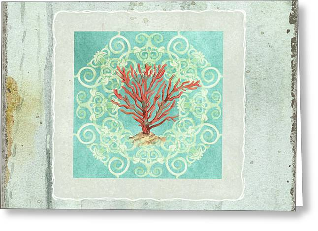 Coastal Trade Winds 3 - Driftwood Red Coral Seashell Scrollwork Greeting Card