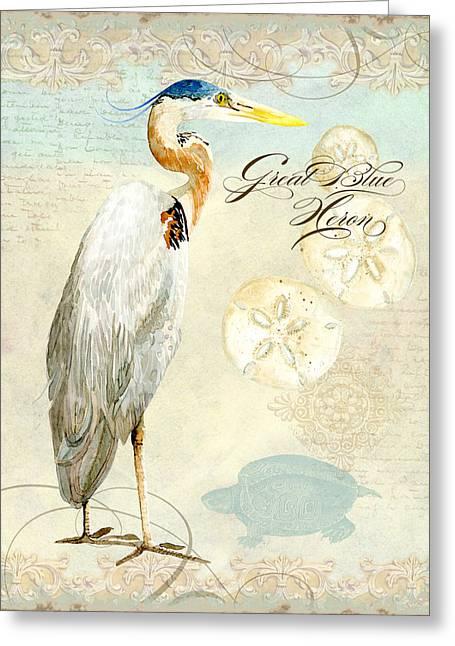 Coastal Waterways - Great Blue Heron 3 Greeting Card by Audrey Jeanne Roberts