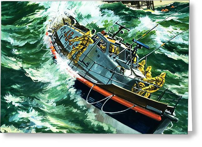 Coastguard Lifeboat Greeting Card by Wilf Hardy