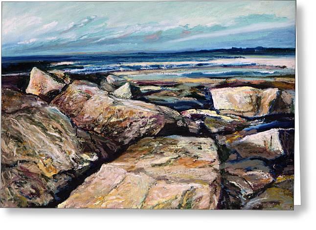 Maine Landscape Pastels Greeting Cards - Coasts Edge Greeting Card by Richard Knox