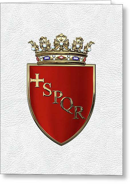 Coat Of Arms Of Rome Over White Leather  Greeting Card by Serge Averbukh