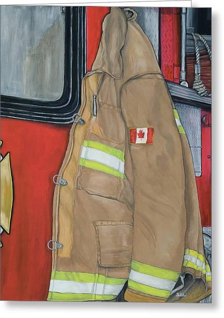 Coat Of Courage- Canadian Flag Greeting Card by Bobbi Whelan