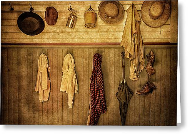 Coat Room At The Old Schoolhouse Greeting Card