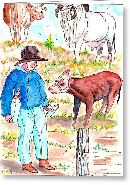 Coaxing The Herd Home Greeting Card