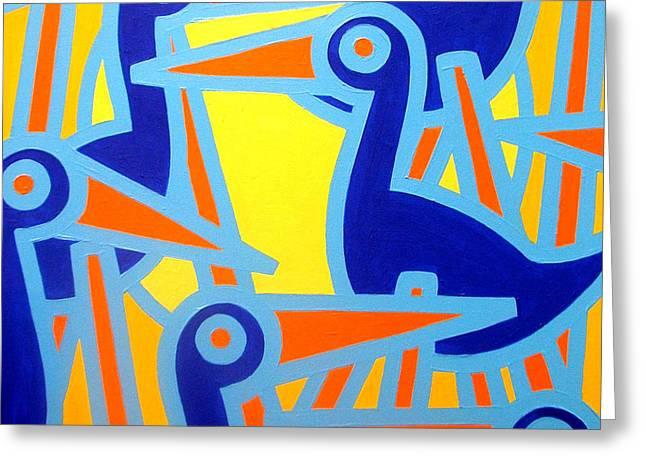 Original Acrylic Greeting Cards - Cobalt Birds Greeting Card by John  Nolan