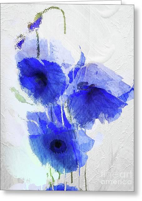 Cobalt Poppies Greeting Card